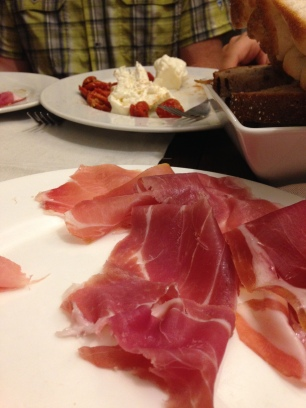burrata and proscuitto at Roscioli in Rome