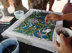 batik class, painting in our design