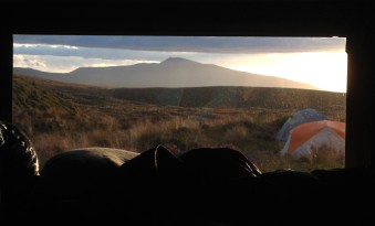 Sunset view of Hauhungatahi from our bunk at Mangatepopo Hut