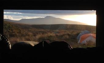 Sunset view of Hauhungatahi from our bunk at Mangatepopo Hut