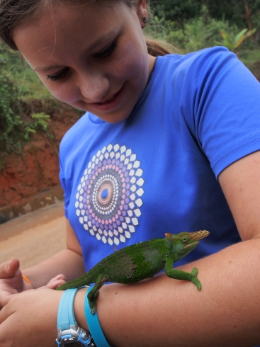 Della and Mr Two-Horned Chameleon